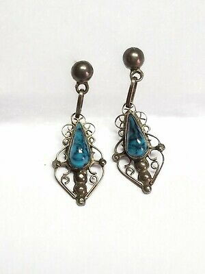 Vintage 925 Sterling Silver Turquoise ART PLAT Plata Mexico Dangle Earrings