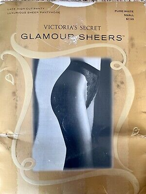 Victoria's Secret Glamour Sheers Lace High Cut Panty Pantyhose Pure White Small