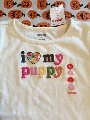 NWT GYMBOREE Lots of Dots I Love My Puppy Off-White Long Sleeve Tee Top Sz 6