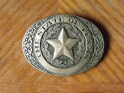 THE STATE OF TEXAS - Vintage Belt Buckle - Western Star ADM Solid Brass