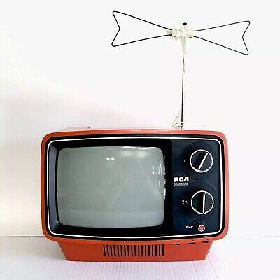 """Vintage Red RCA Sportables Black and White TV 9"""""""