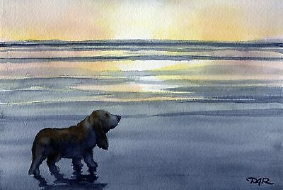 BASSET HOUND Dog Watercolor 8 x 10 Art Print Signed by Artist DJ Rogers