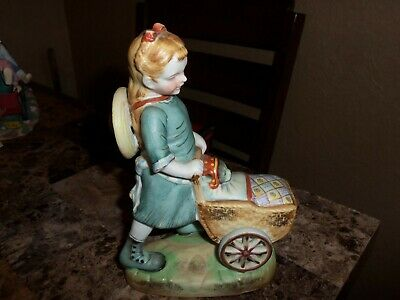 Vintage Shafford Sculpture Girl Pushing A Baby Buggy Made In Japan