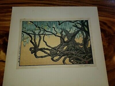 "Toshi Yoshida Japanese Woodblock Print ""Wisteria at Ushiyama"" Pencil Signed"