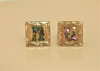 Vintage Plamex Mexico Hand Made Sterling Silver Abalone Inlay U or N Cufflinks