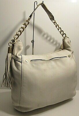 505b2473b04e Michael Kors Ivory/Vanil Genuine Leather Satchel Shoulder Bag Purse Tassel  Charm