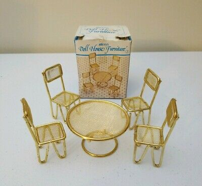 Vintage Brass Doll House Furniture Round Table And Chairs With Box
