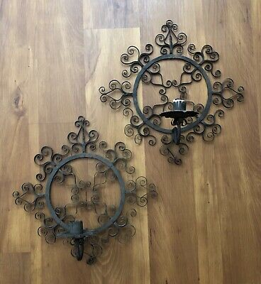 Vintage California Mission Spanish Revival Wrought Iron Sconces Candle Holders