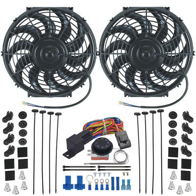 Dual Electric Radiator Cooling Fan-S Adjustable Thermostat Controller Switch Kit