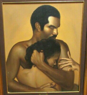 A Moreno African American Couple Original Oil On Canvas Painting