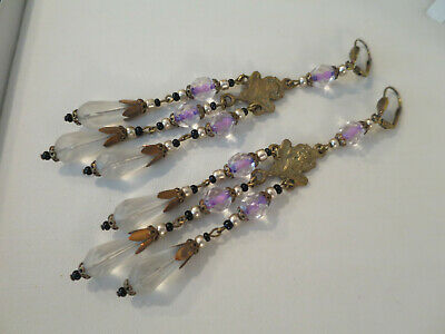Beautiful VINTAGE CZECH ART NOUVEAU 12.5CM DROP, Purple & Crystal Earrings