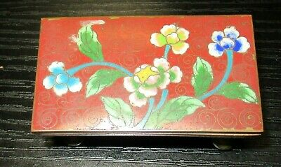 Small Chinese Cloisonne Red Enamel Floral Designed Stamp Jar Box