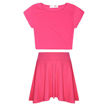 Girls Summer Crop Top And Skater Skirt Set Kids 2 Piece Fashion Outfit Neon Pink