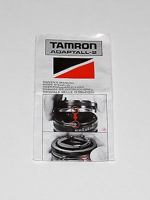 Vintage owner's manual for TAMRON Adaptall-2 lens mount - pamphlet