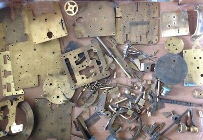 Antique Clock Makers Brass Scrap Box Contents Approx 2.6kg All Brass Parts