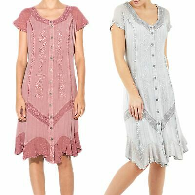 Ladies Embroidered Button Front Dress Rosa Chic Style Branded Chiffon Trim