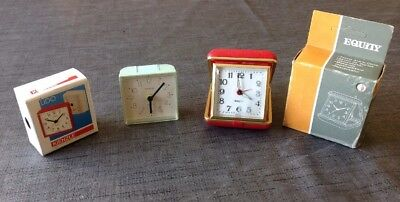Vintage Travel Alarm Clocks Kienzle Silent Quartz Equity Mechanical Both Working