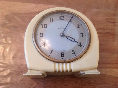 "Antique Smiths 30 Hour White Mantel Clock 6X2.5"" To Restore"