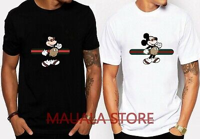 711c3e7ca Stripe Mickey Mouse Stylish 7Guccy Trending Logo Men's Black White Tshirt