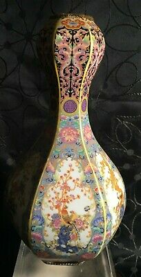 Chinese Qing Six Sided Vase, Highly Enamel Decorated Scenes, Qing Marks to Base