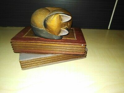 Cat Sleeping On Books Wooden Ornament