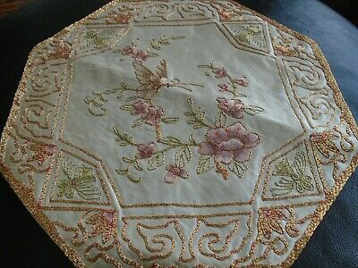 Chinese Hand Embroidery Silk & Rayon Octagonal Panel - Rich Gold Thread