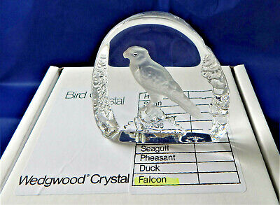 Wedgwood Glass FALCON Crystal Bird Paperweight Sculpture Vintage Boxed