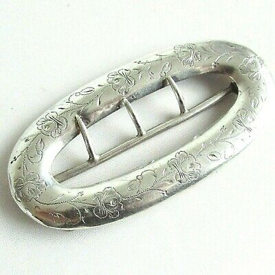 Old antique Victorian sterling silver large buckle Chester hallmarks 1899
