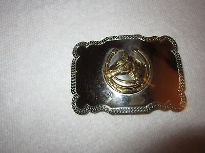 SILVER NICKEL Belt Buckle HORSE SHOE Gold Tone WESTERN LUCKY LARGE MIRROR SHINY!