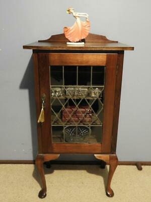 VINTAGE ART DECO DISPLAY CHINA CRYSTAL HALL CABINET CUPBOARD LAMP SIDE TABLE 20s