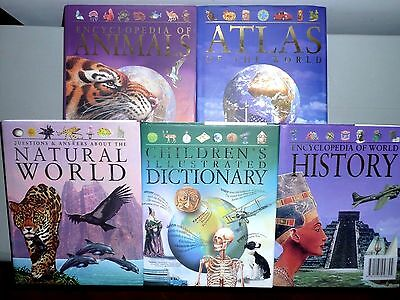 5 Reference Books Set: History, Dictionary, Natural World, Animals & Atlas