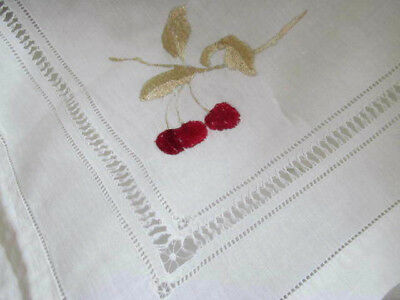 Antique Silk Embroidered Red Cherry Tea Parlor Tablecloth w/Drawnwork