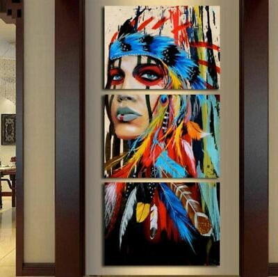 Feathered America Indian Woman Girl Canvas Prints Painting Wall Art Poster 3PCS