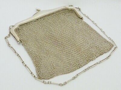 ELEGANT HEAVY 220g ANTIQUE SOLID SILVER CHAINMAIL EVENING BAG ON CHAIN HM 1915