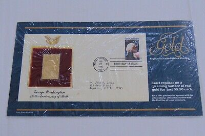 New George Washington 250th Anniversary 22K Gold Replica of the Actual Stamp