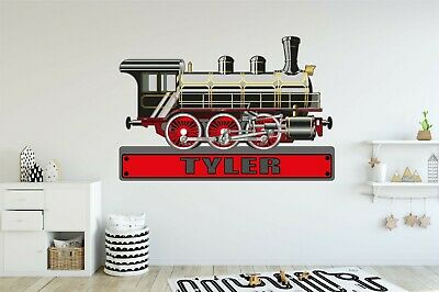 TRAIN ENGINE PERSONALISED WALL STICKER children's boys bedroom decal art 4 size