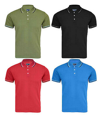 New Mens Polo Shirt Pique Collar Short Sleeves Plain Golf T-Shirt Sizes S M L XL