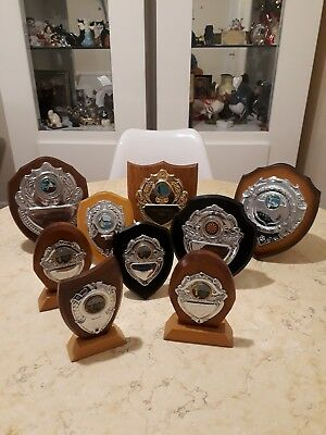 Vintage Assorted Used Trophy Shields Ideal For Clubs, School Etc