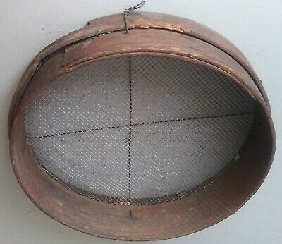 """19thC Antique Country Primitive 12"""" Bentwood Farmhouse Sifter Sieve"""