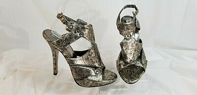 818b2b7a267 STEVE MADDEN HARMONY Size 9 Silver Pewter Gold Mules Perforated ...