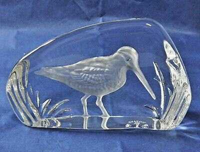 Wedgwood Glass Crystal Bird Paperweight SNIPE Sculpture Vintage Boxed