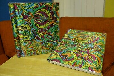 Vtg Groovy Photo Albums 1960s 70s Mod Mid Century Blue Purple Yellow Floral NOS