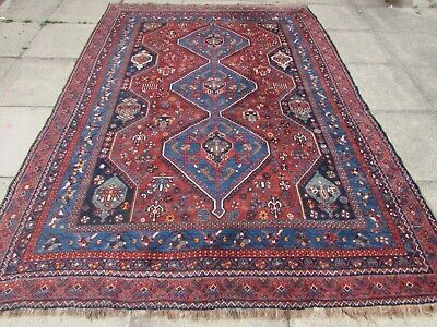 Antique Traditional Hand Made Persian Oriental Red Wool Large Carpet 287x213cm