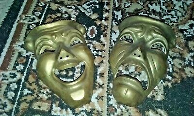 Vintage Brass Comedy Tragedy Theater  Masks Greek Theater Masks 7""