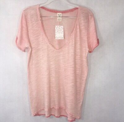 Womens FREE PEOPLE Top Coral Saturday Lace Trim Burnout Tee Blouse NWT