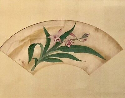 ANTIQUE JAPANESE PAINTING FRAMED AS FAN, TAKAYOSHI AWATAGUCHI, c1830'S, RED SEAL