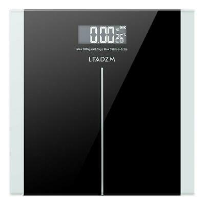 400lbs Digital Body Weight Bathroom Scale Tempered Glass 180kg + 2 x AAA Battery