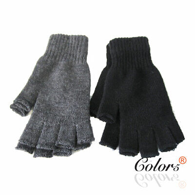 Color5 Unisex Men Women Adult Winter Warm Knitted Fingerless Gloves Plain Colour