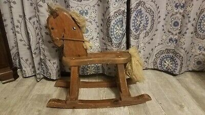 Vintage rocking horse solid wood