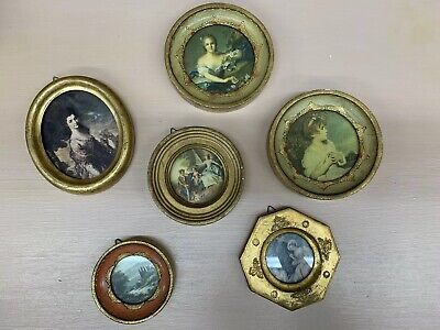 Vintage Small Gold Toned Wood Gesso Gold Gilt Made In Italy Frames Lot Of 6